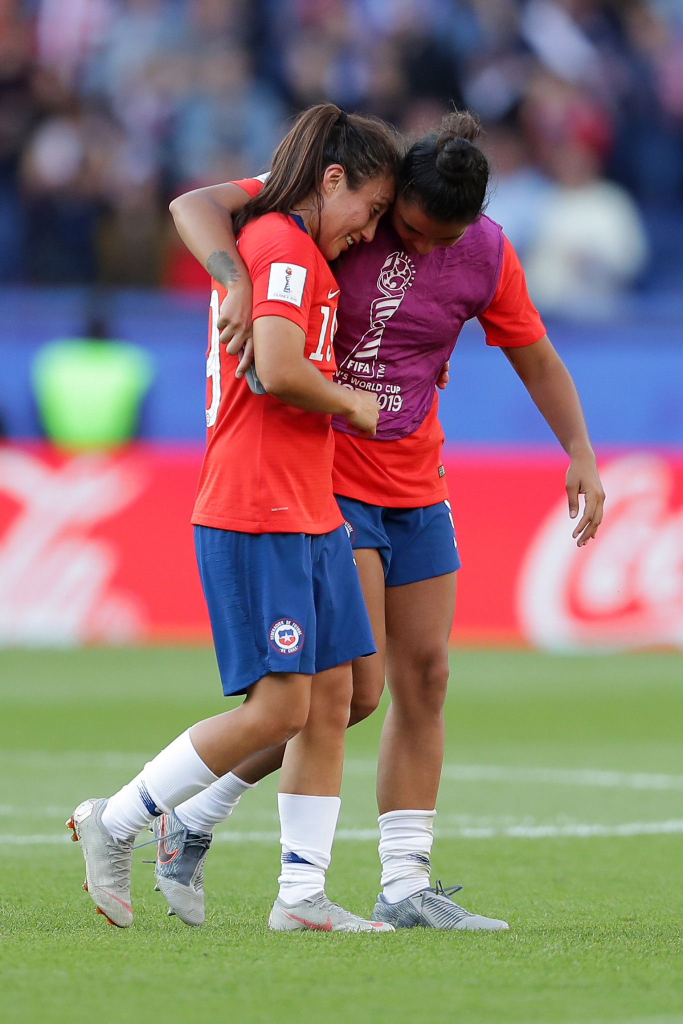 Chile's Yessenia Huenteo is consoled by a team mate ©Getty Images