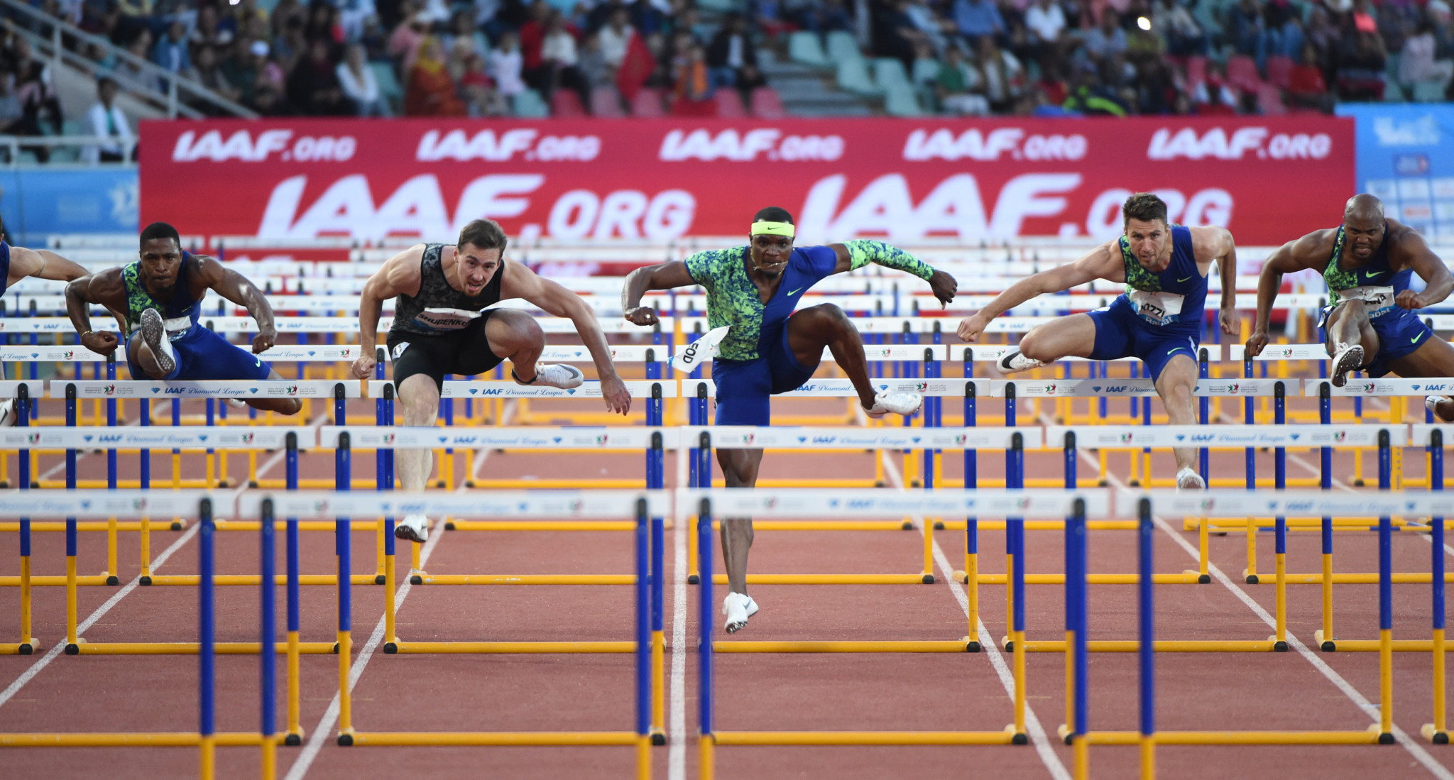 Sergei Shubenkov earned victory at a painful price in the men's 110m hurdles in Rabat tonight ©Getty Images
