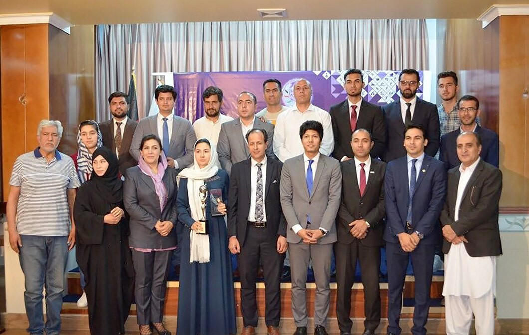 Asghari (front row, fifth from left), a peace and human rights advocate in Afghanistan who is a member of the Athletes' Entourage Commission, was elected to the IOC in October 2018 ©OCA