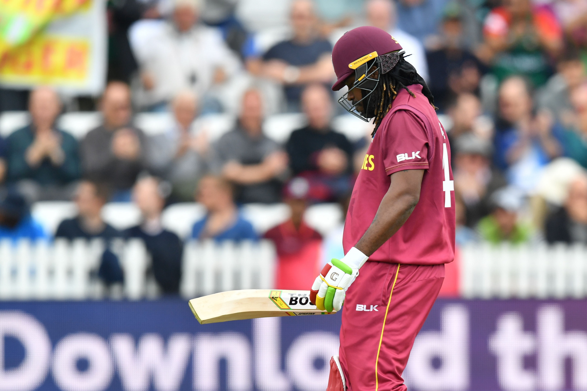 West Indies made 321-8, their fourth-highest World Cup score, despite opener Chris Gayle getting out for a 13-ball duck ©Getty Images