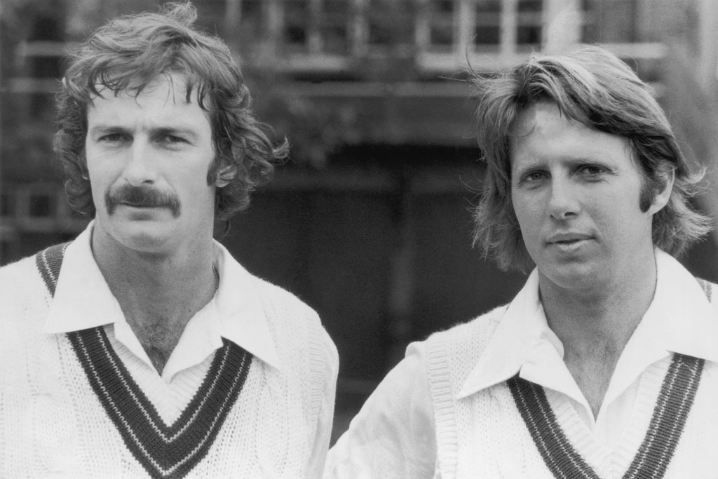 Australian cricketing heroes Dennis Lillee and Jeff Thomson (pictured together in 1975) are cited as particular sporting heroes by Chris Eaton ©Hulton Archive/Getty Images