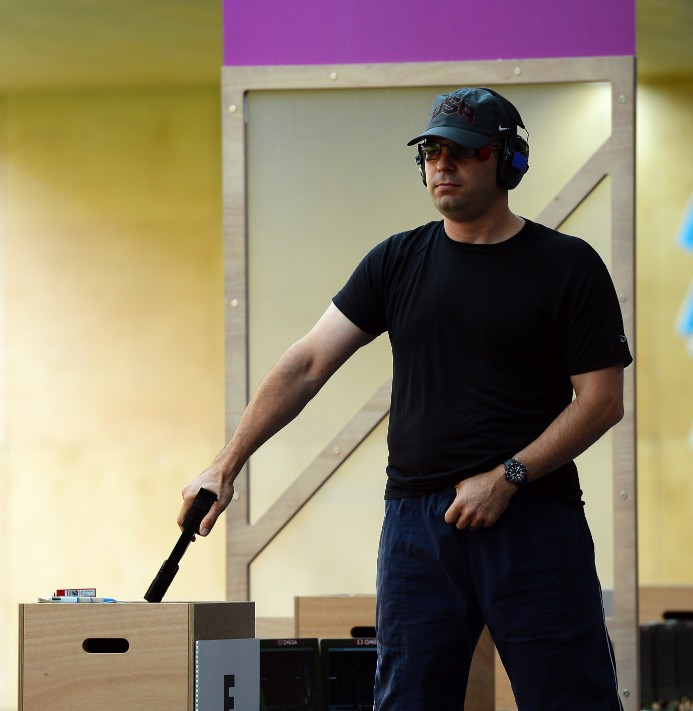 Three-time Olympian Keith Sanderson competes in rapid fire pistol ©Getty Images