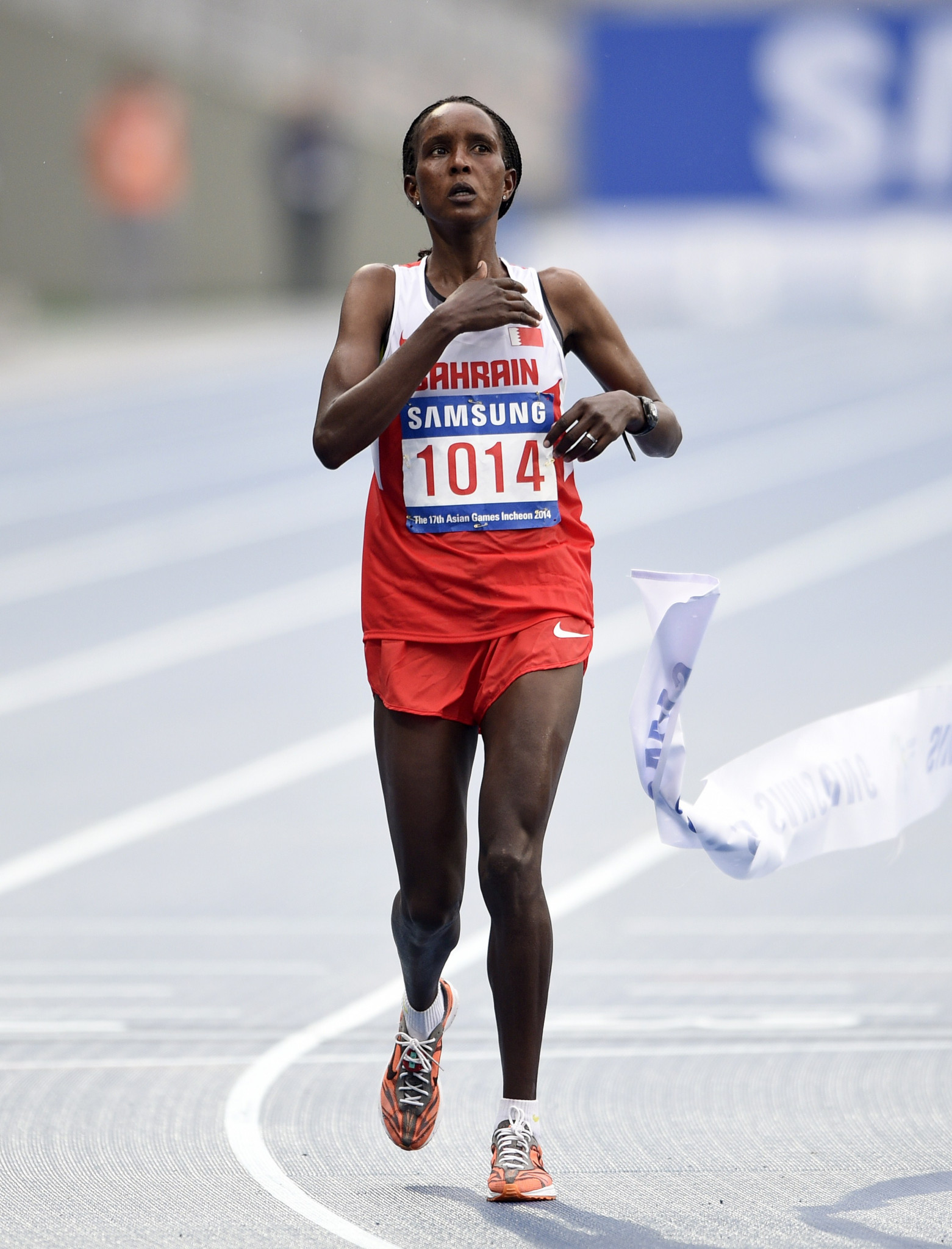 Eunice Kirwa won the gold medal in the marathon at the 2014 Asian Games in Incheon shortly after switching her allegiance from Kenya to Bahrain ©Getty Images