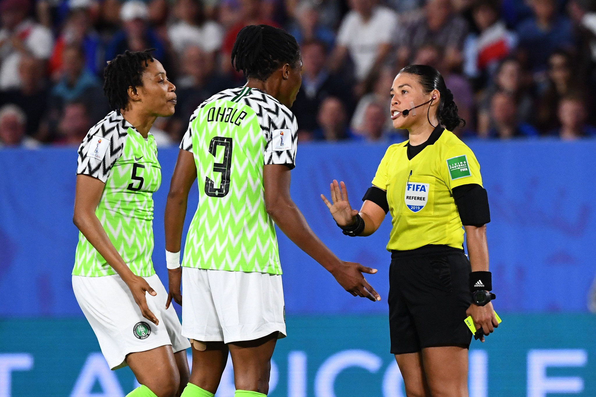 Referee Melissa Borjas incurred the frustration of Nigeria's players ©Getty Images