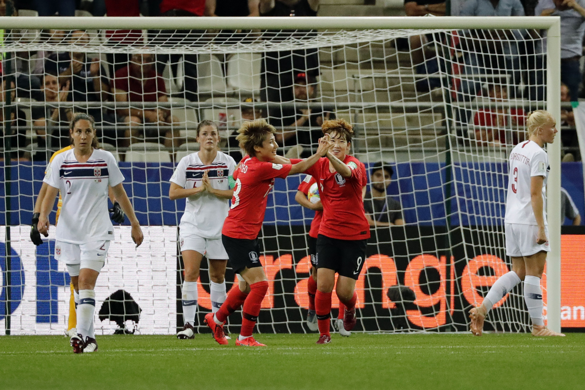 Yeo Min-ji, centre left, pulled one back for South Korea but it proved only a consolation ©Getty Images