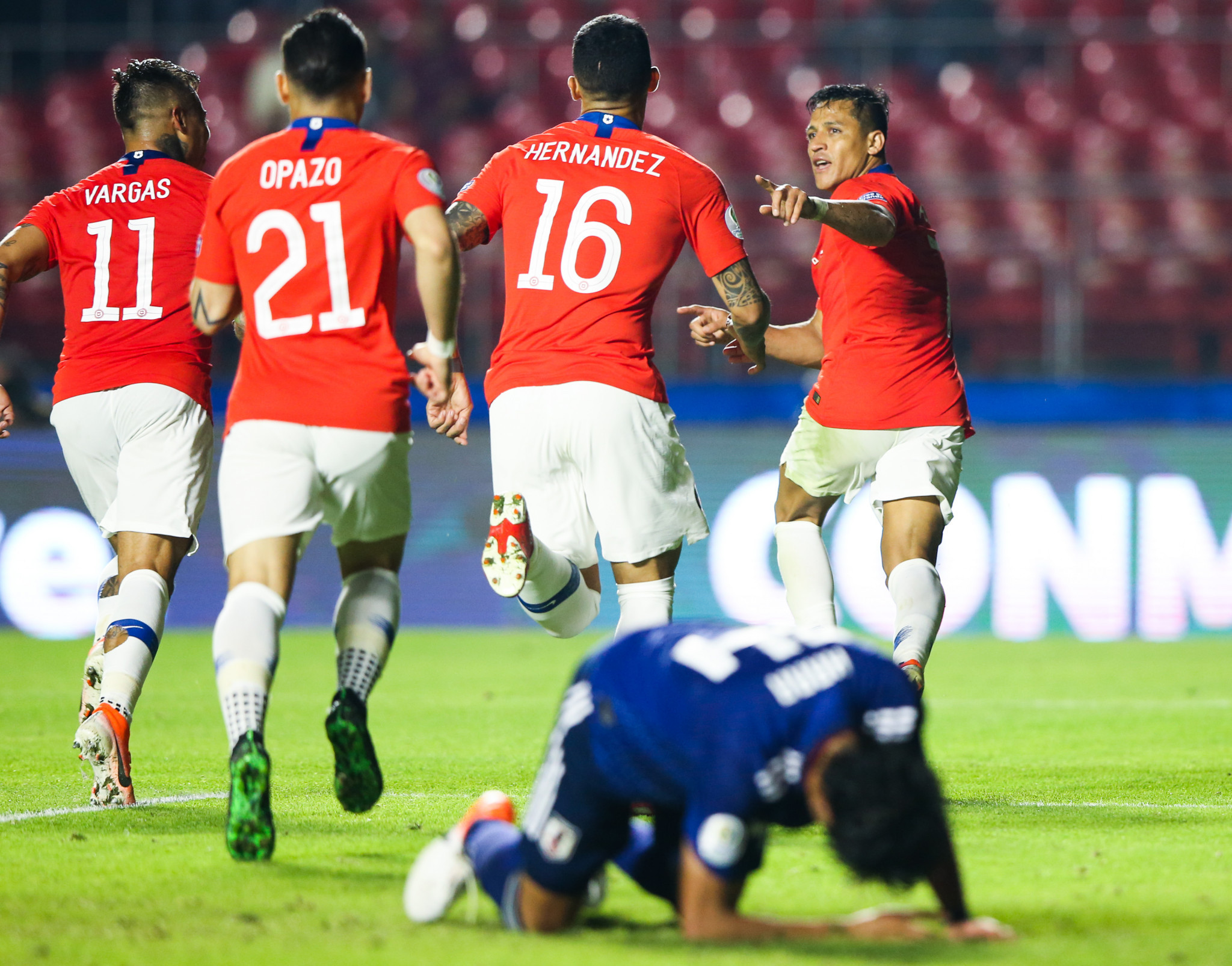 Reigning champions Chile begin Copa América defence with thumping win against inexperienced Japan