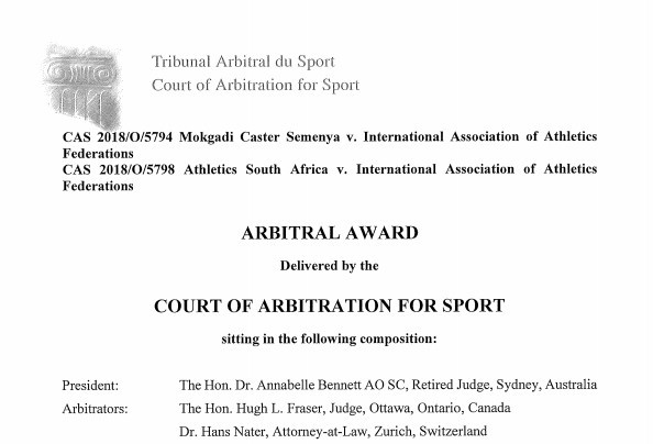 The 163-page award was published by the CAS today ©CAS