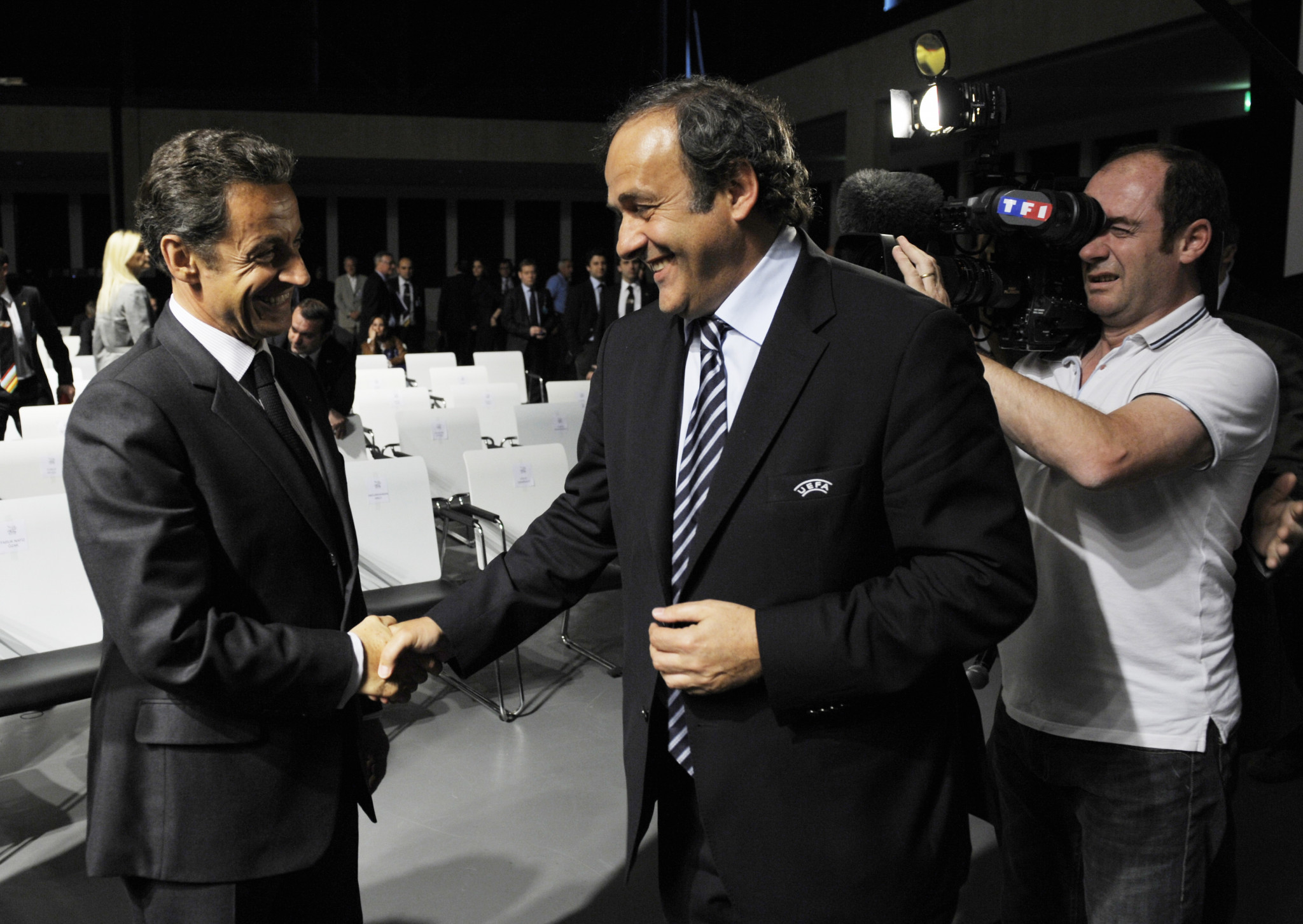 Former UEFA President Michel Platini, right, has denied he voted for Qatar to host the 2022 World Cup because of pressure from then-French President Nicolas Sarkozy ©Getty Images