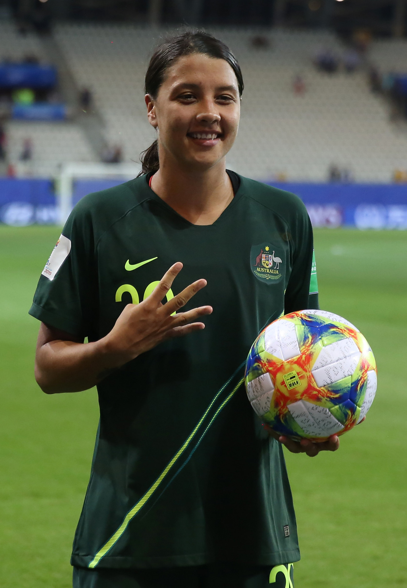 Australia's Sam Kerr with the match ball after scoring four goals against Jamaica ©Getty Images