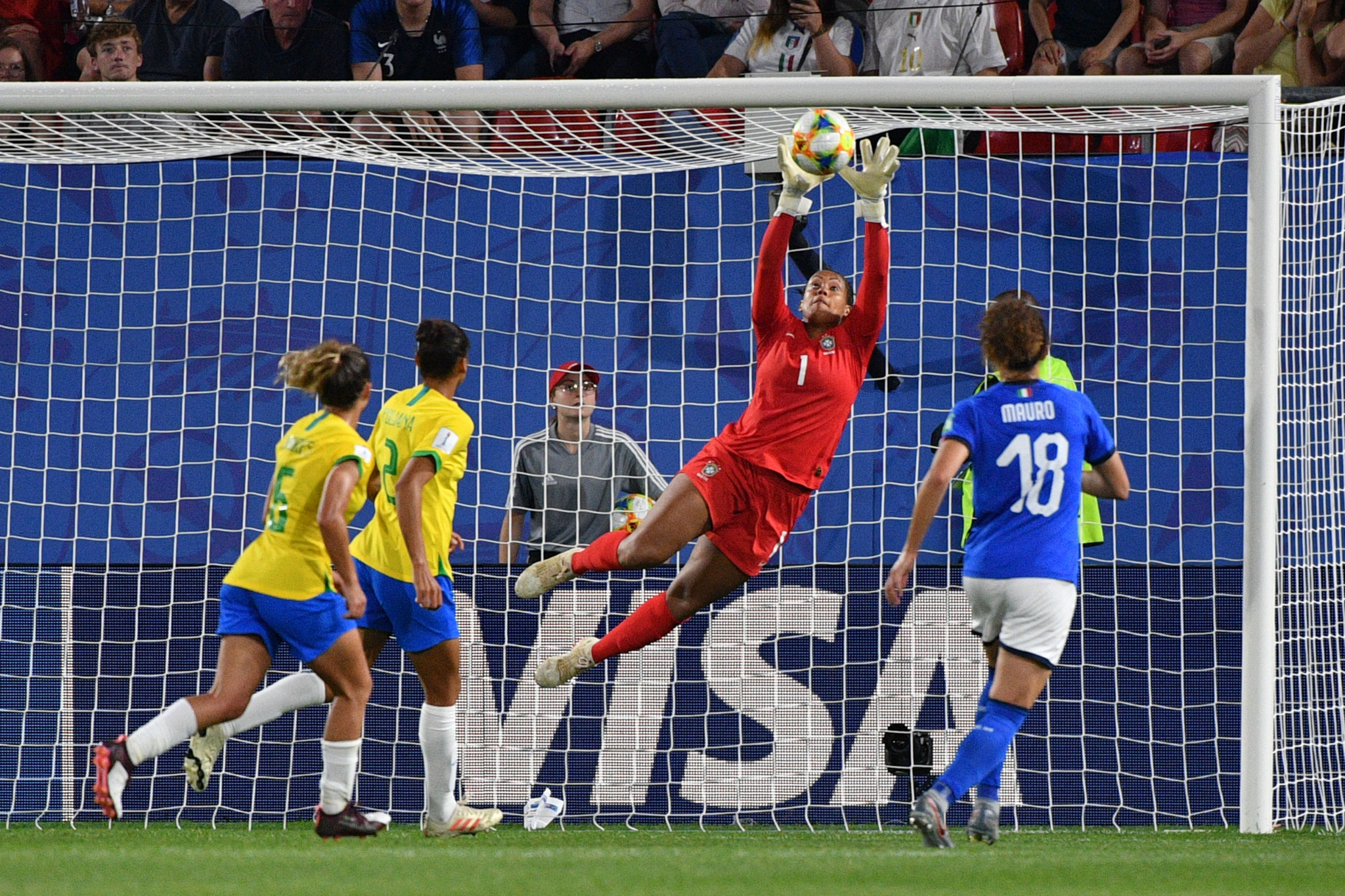 Brazil keeper Barbara makes a save ©Getty Images