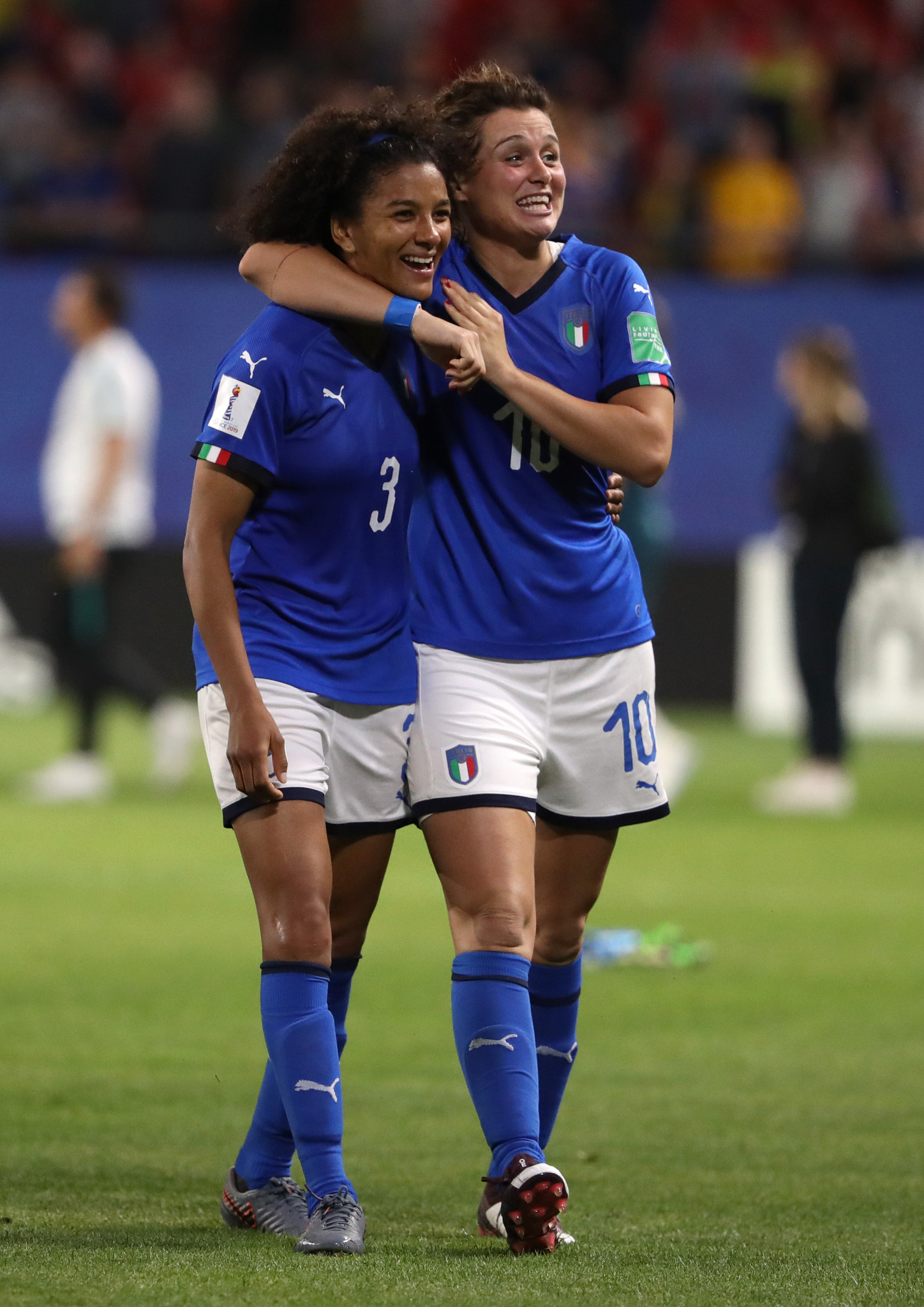 Sara Gama and Cristiana Girelli celebrate progress despite defeat to Brazil ©Getty Images