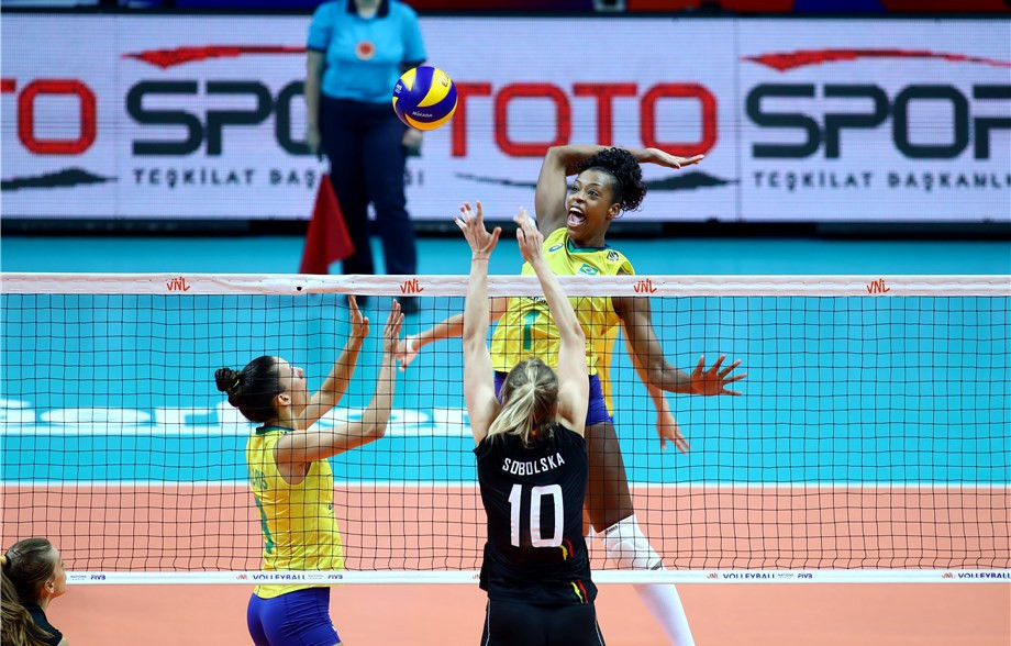 Brazil down Belgium as Poland become last team to reach final round of FIVB Women's Nations League