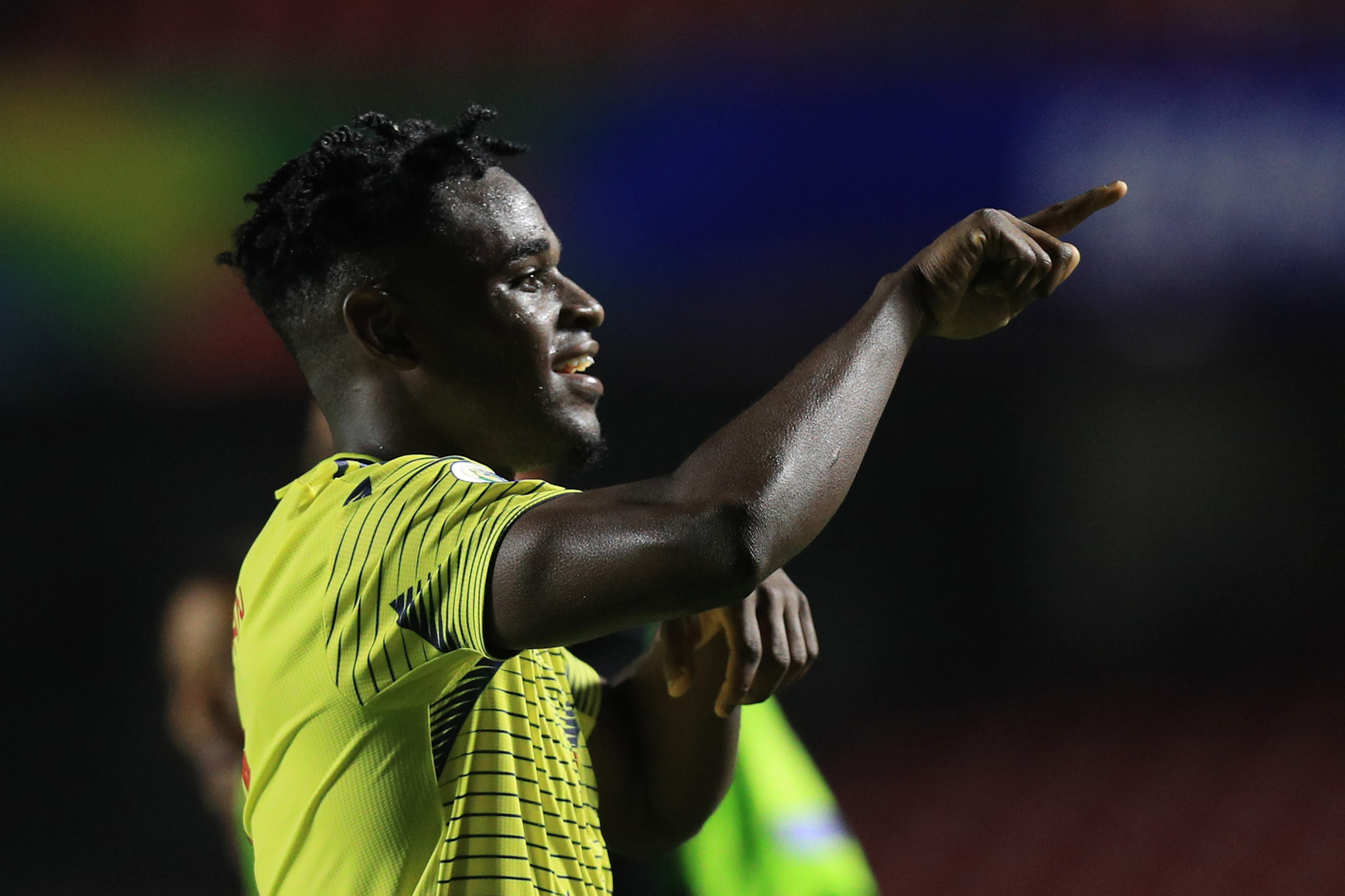 Duvan Zapata scored a late header as Colombia beat Qatar to go through ©Getty Images