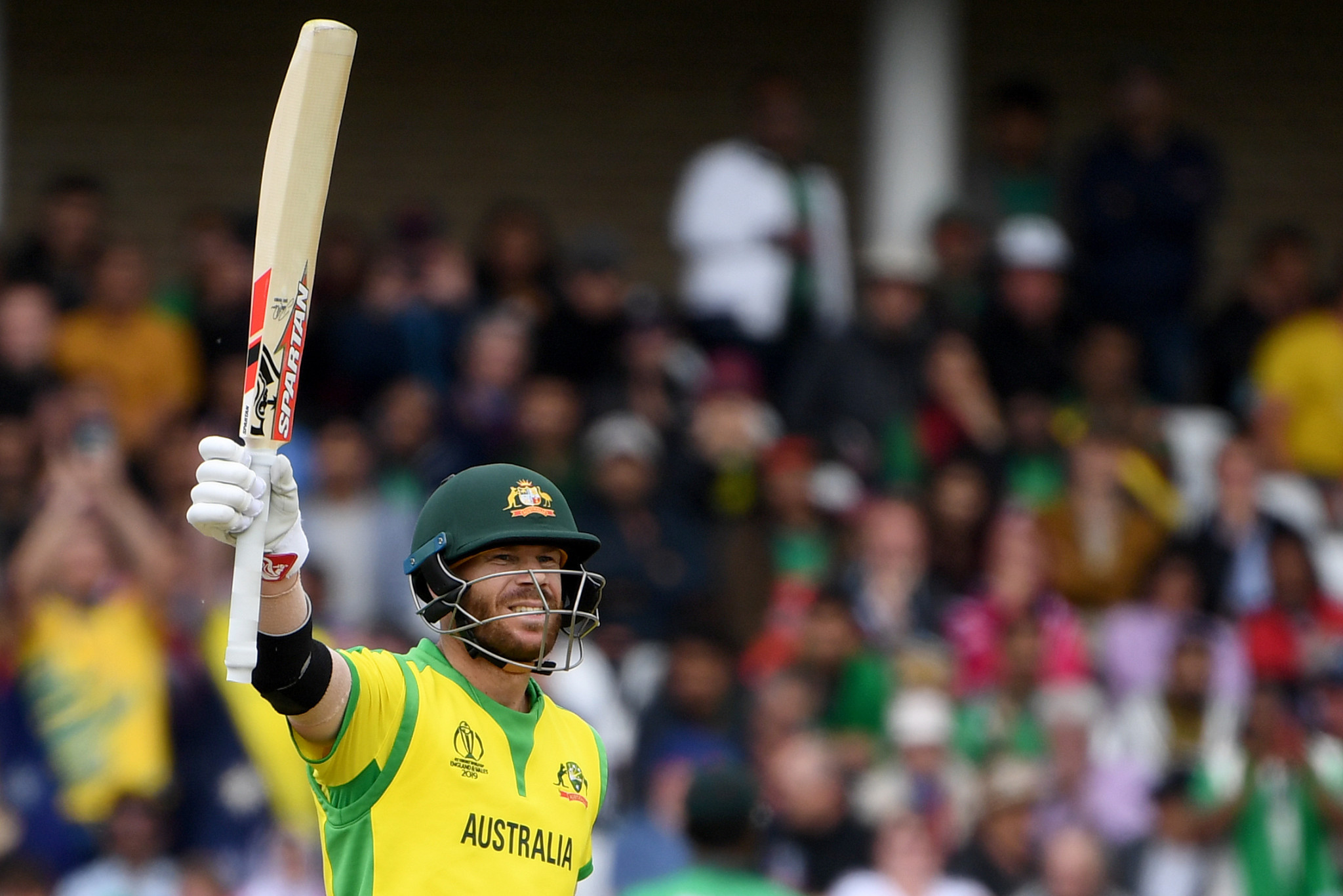 David Warner's innings of 166 helped Australia to a 48-run win over Bangladesh at the ICC Men's World Cup today ©Getty Images