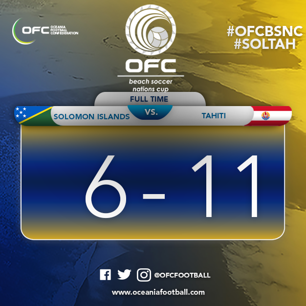 Hosts Tahiti claimed an 11-6 win over reigning champions Solomon Islands to join their opponents in qualifying for the final of the Oceania Football Confederation Beach Soccer Nations Cup ©OFC Oceania Football/Twitter