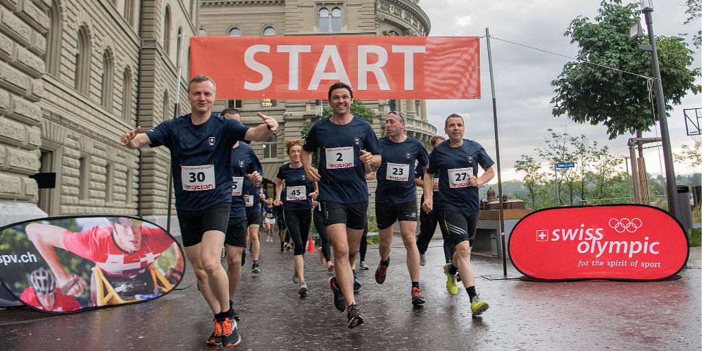 The 18th annual Parlamotion race, in which members of the Swiss Parliament complete a run around the Bundeshaus, has taken place in Bern ©PPR/Daniel Teuscher