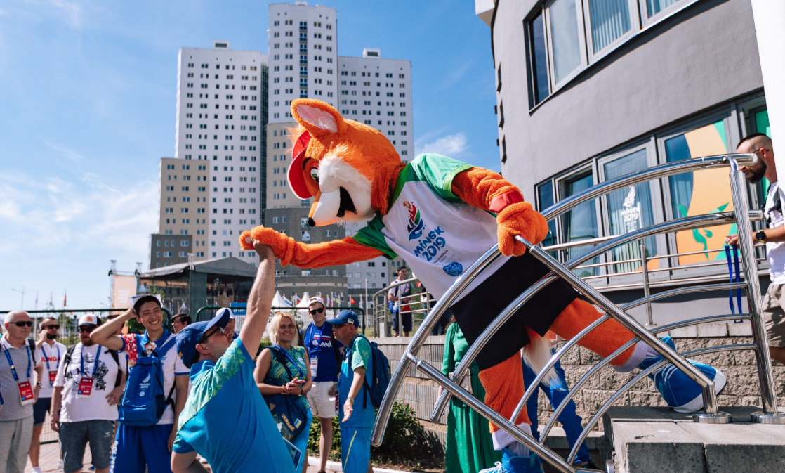 Minsk 2019 mascot Lesik the baby fox plays his part in the party atmosphere at the Athletes' Village ©Minsk 2019