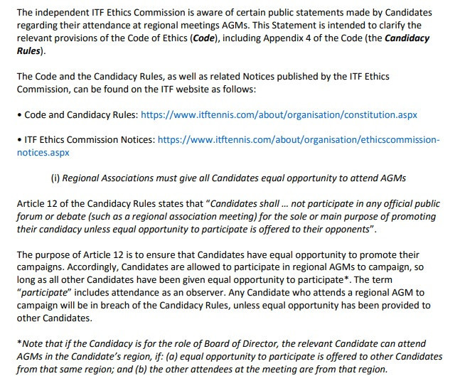 The Ethics Commission published a statement this week to clarify the campaign rules ©ITF