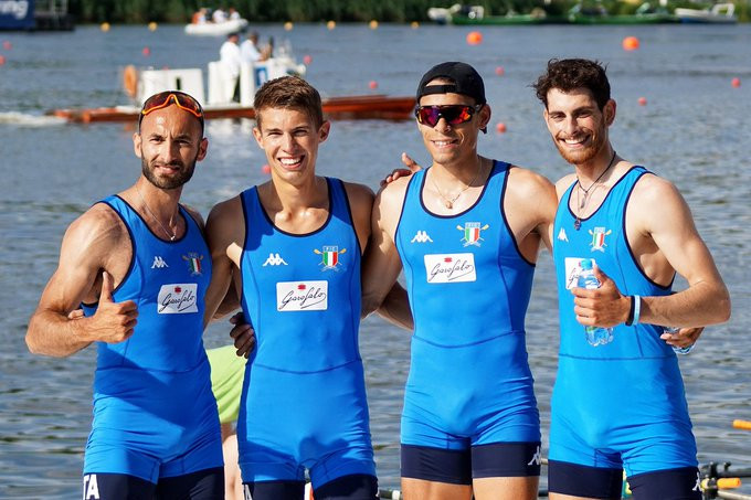 European champions Italy claim men's lightweight quadruple sculls gold at World Rowing Cup