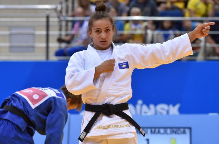 Kosovo's Rio 2016 judo champion Majlinda Kelmendi acknowledges another major gold in Minsk today ©Getty Images