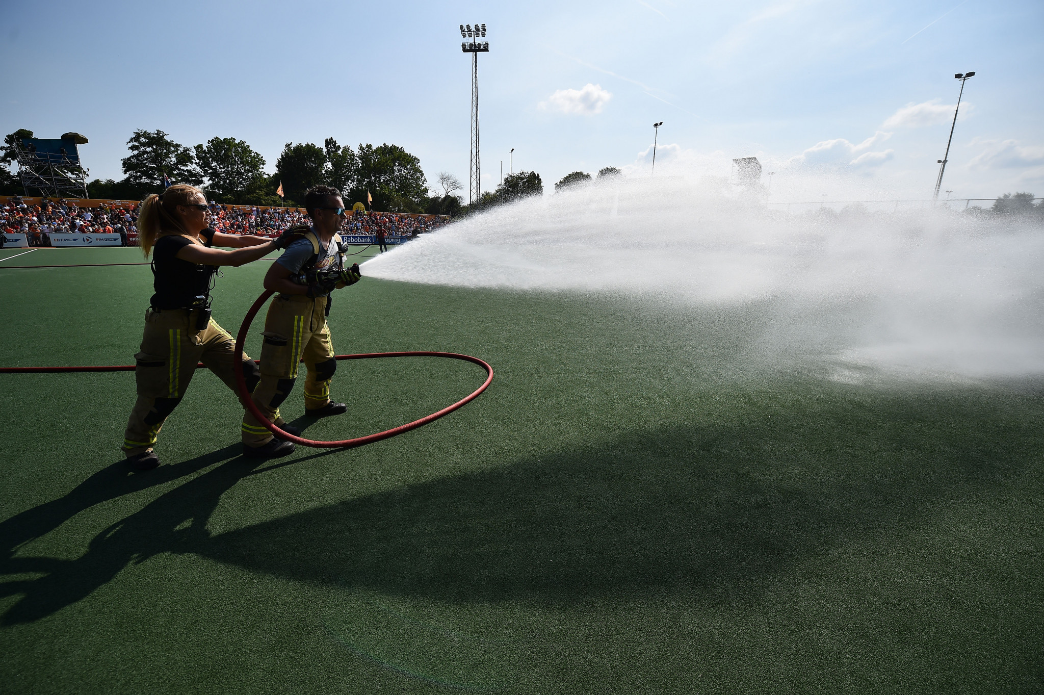 The fire brigade had to be called to water the pitch in Amsterdam as the start was delayed by two hours  ©Getty Images