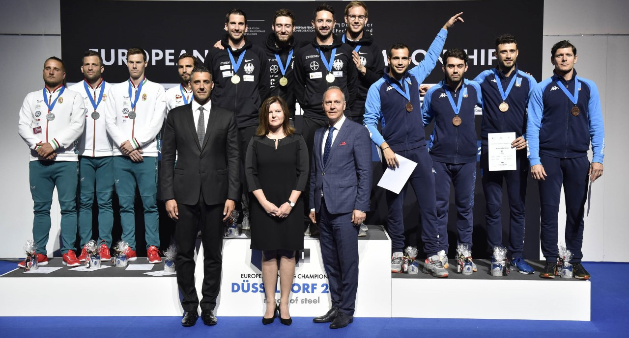 Hosts Germany win men's team sabre at European Fencing Championships as Poland emerge victorious in women's team épée