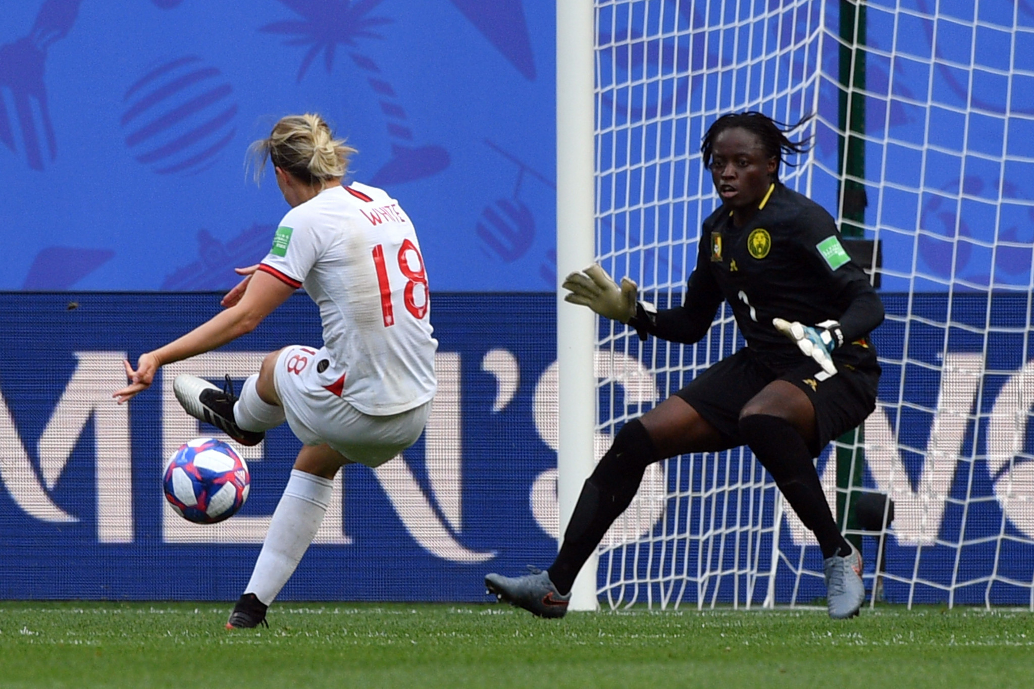 Ellen White put England 2-0 ahead in first half stoppage time in a goal given after VAR overturned an offside call ©Getty Images