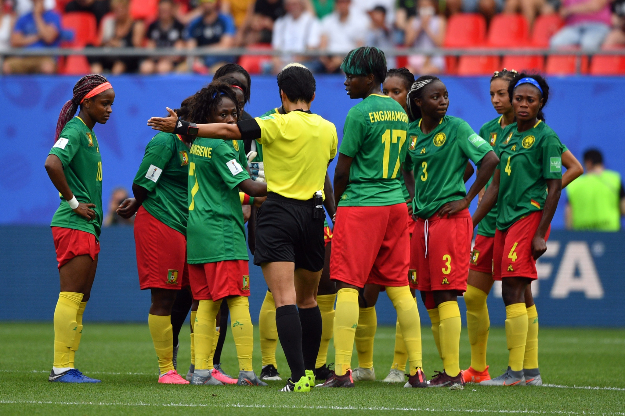 The Cameroon players were furious at the decision to award the goal and briefly appeared to refuse to restart play ©Getty Images