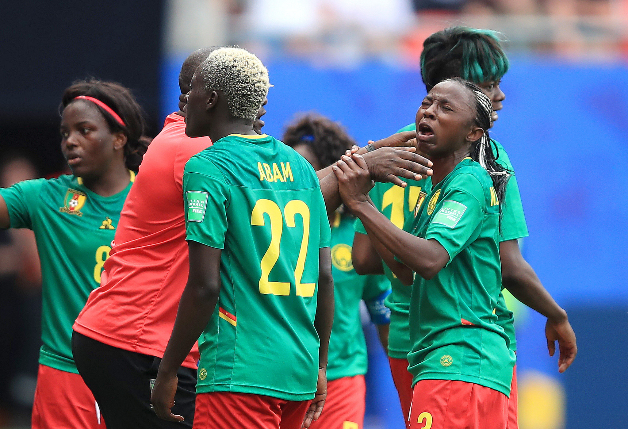 Ajara Nchout was in tears after another VAR decision went against Cameroon, ruling out her goal just after half time ©Getty Images