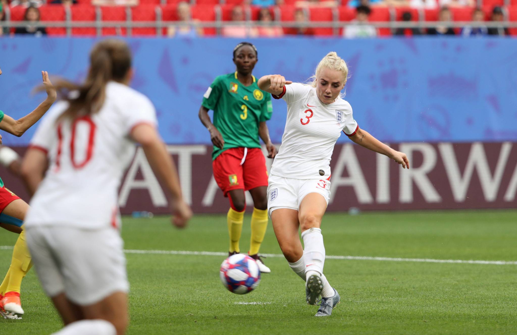 England sealed their quarter final place when Alex Greenwood swept home a corner for 3-0 ©Getty Images