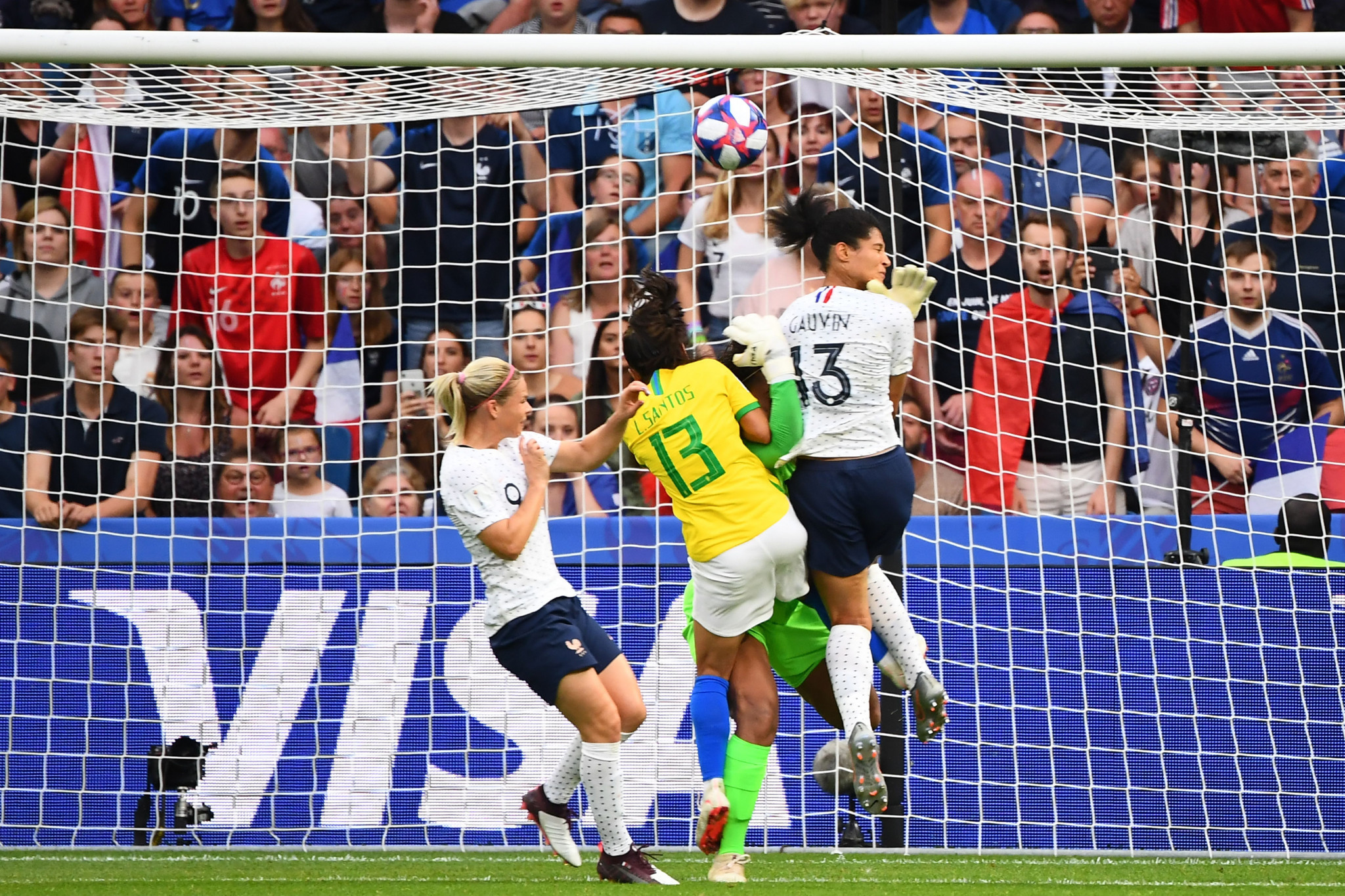 Valérie Gauvin appeared to have given France the lead against Brazil, but the goal was ruled out for a foul © Getty Images