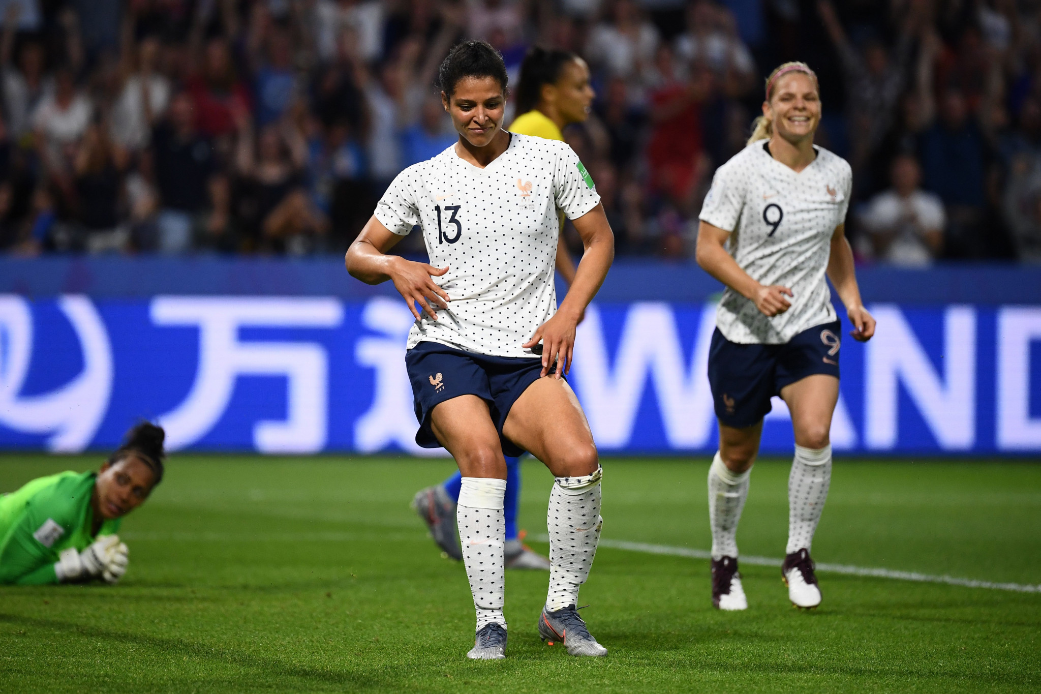 Gauvin pulled out her best dance moves to celebrate putting the World Cup hosts ahead © Getty Images