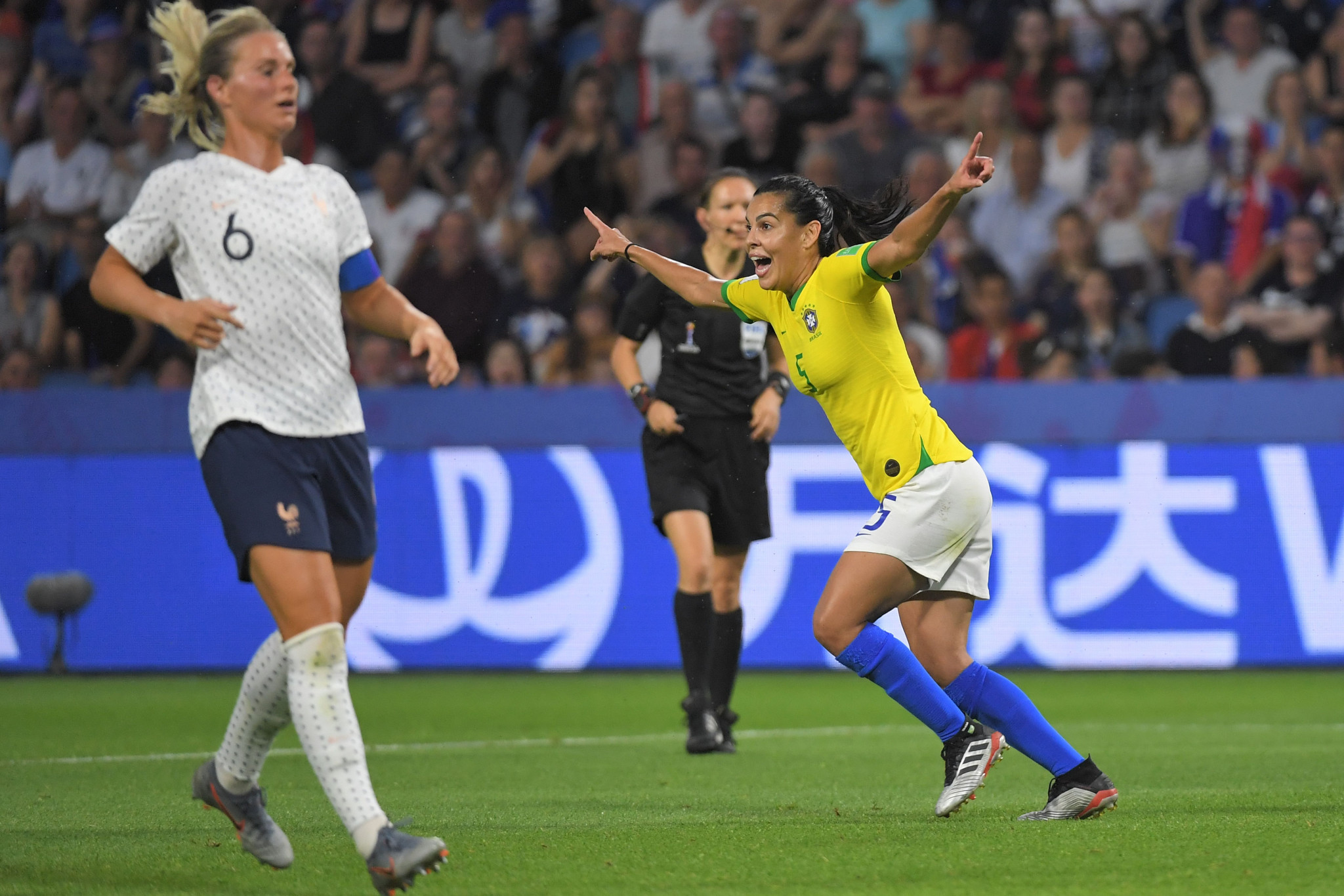 Brazil equalised when Thaisa's driven finish was allowed following a VAR review © Getty Images