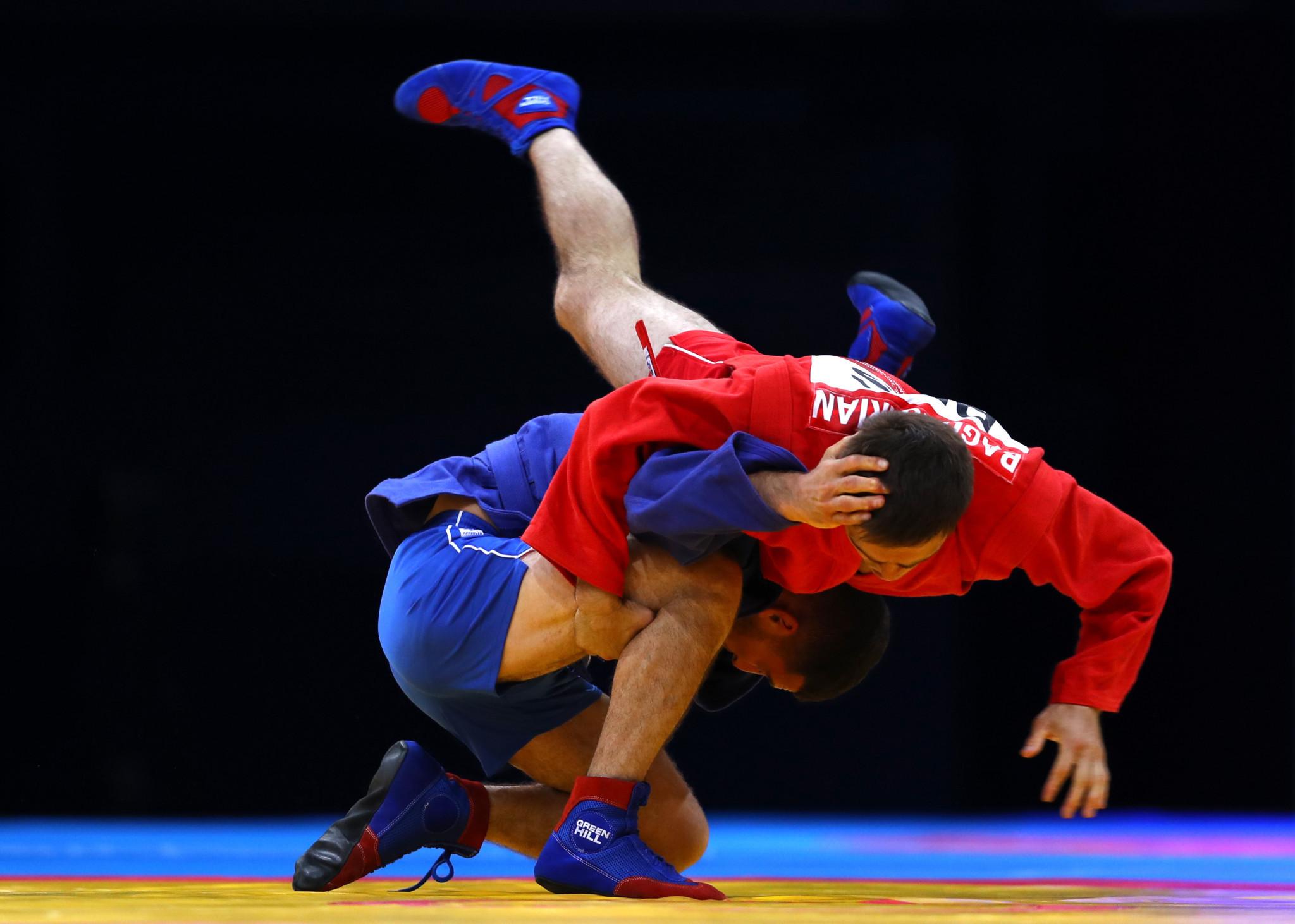 Russia's Ruslan Bagdasarian edged past Greece's Savvas Karakizidis to win the men's sambo under-62kg final ©Getty Images