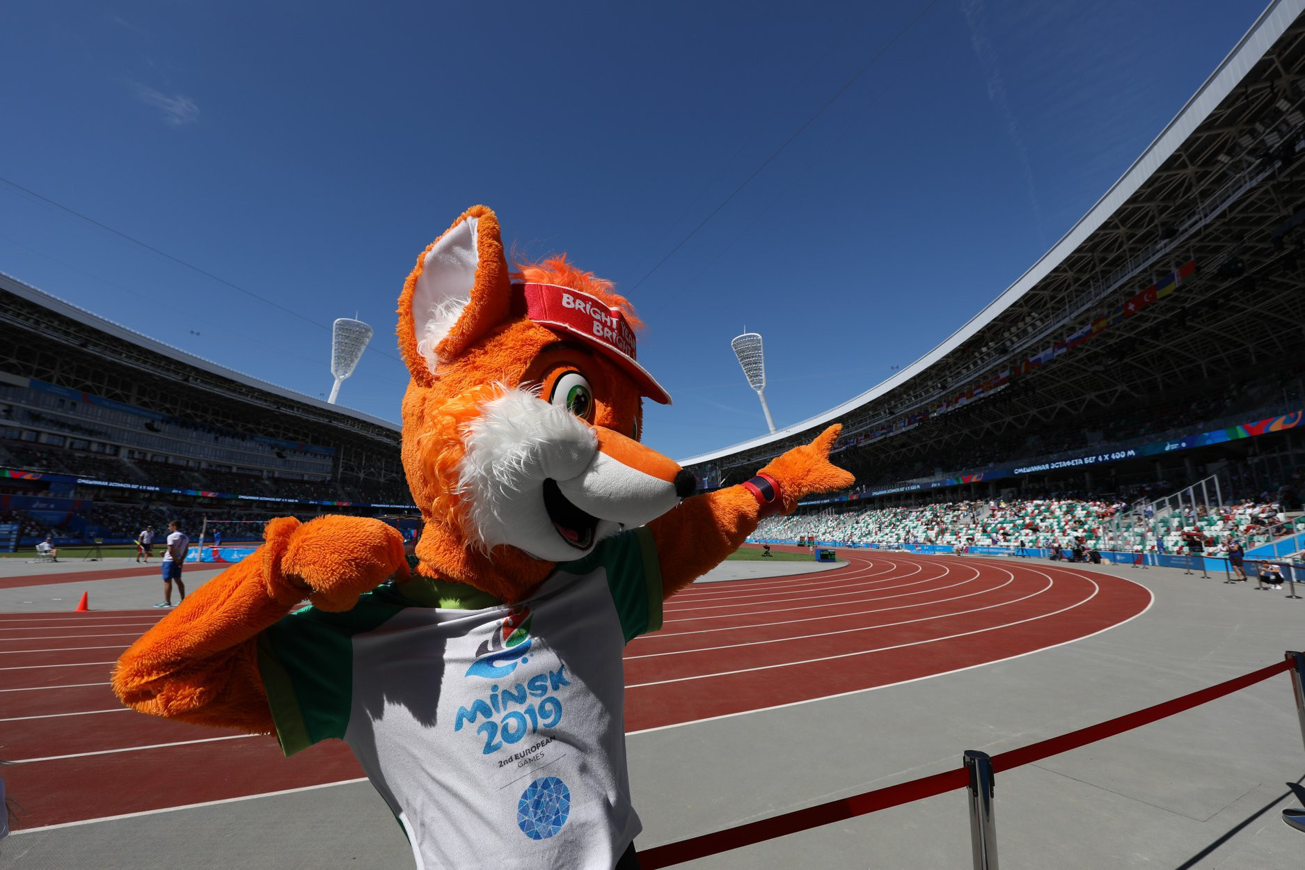 Minsk 2019 mascot Lesik the Fox was on hand to warm up the crowd ©Minsk 2019