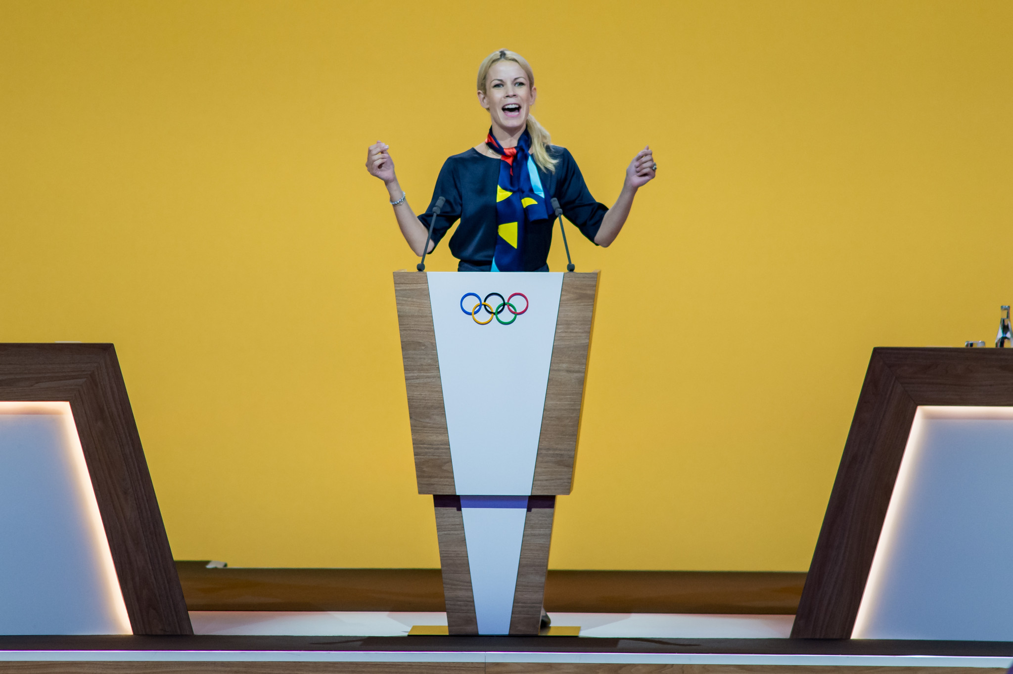 Stockholm Mayor Anna König Jerlmyr sang ABBA's Dancing Queen during the presentation ©Getty Images