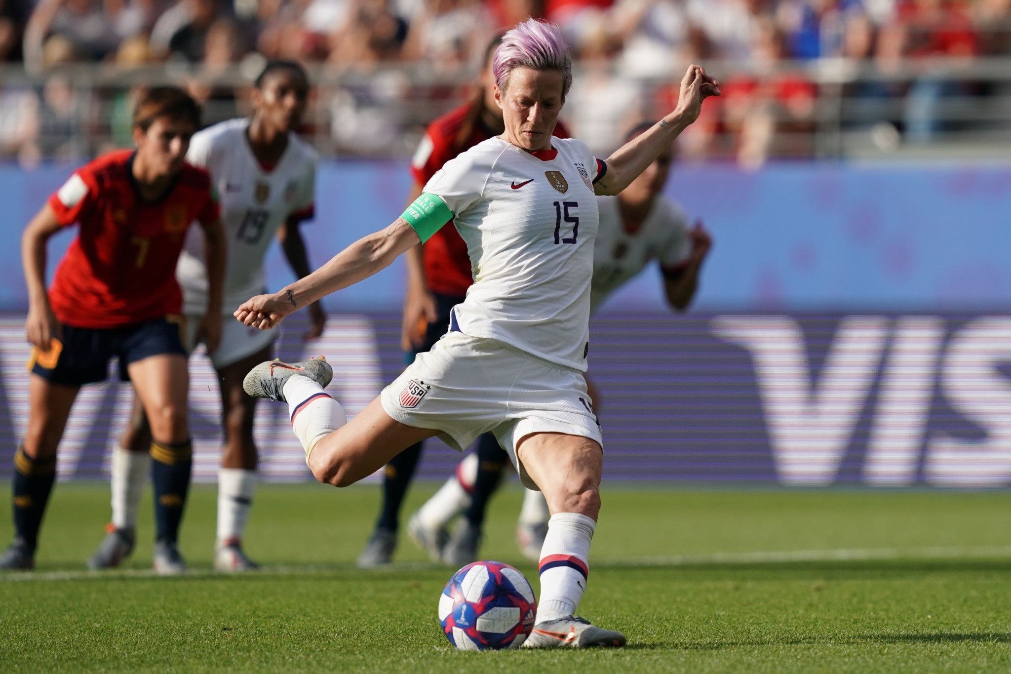 Rapinoe scores twice from penalty spot as holders United States beat Spain in last-16 of FIFA Women's World Cup