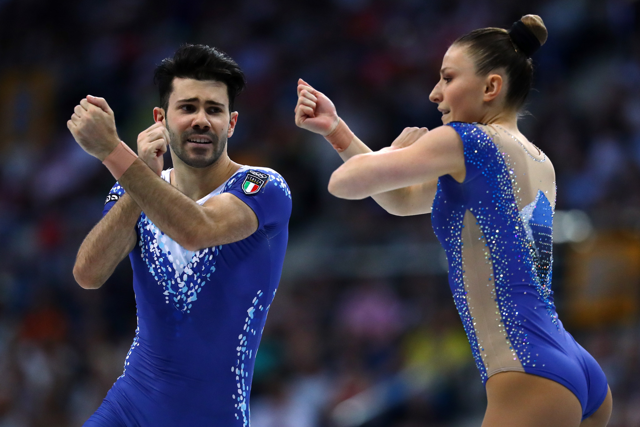 Italy's Michela Castoldi and Davide Donati won the mixed pairs aerobic gymnastics ©Getty Images