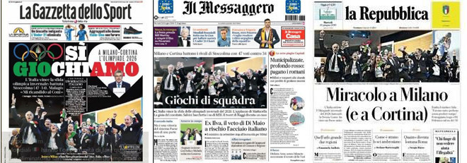 The Italian media were in unison at their joy in Milan and Cortina d'Amprezzo being awarded the 2026 Winter Olympic and Paralympic Games ahead of only rivals Stockholm Åre ©ITG