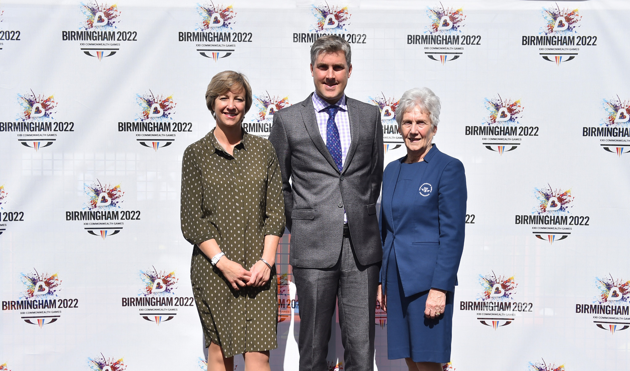 Birmingham 2022 chief executive Ian Reid, centre, says having the budget confirmed is a key milestone, while CGF President Dame Louise Martin, right, claims confirmation of the public investment reinforces the Commonwealth Games' position as a cost-efficient multi-sport event ©Getty Images