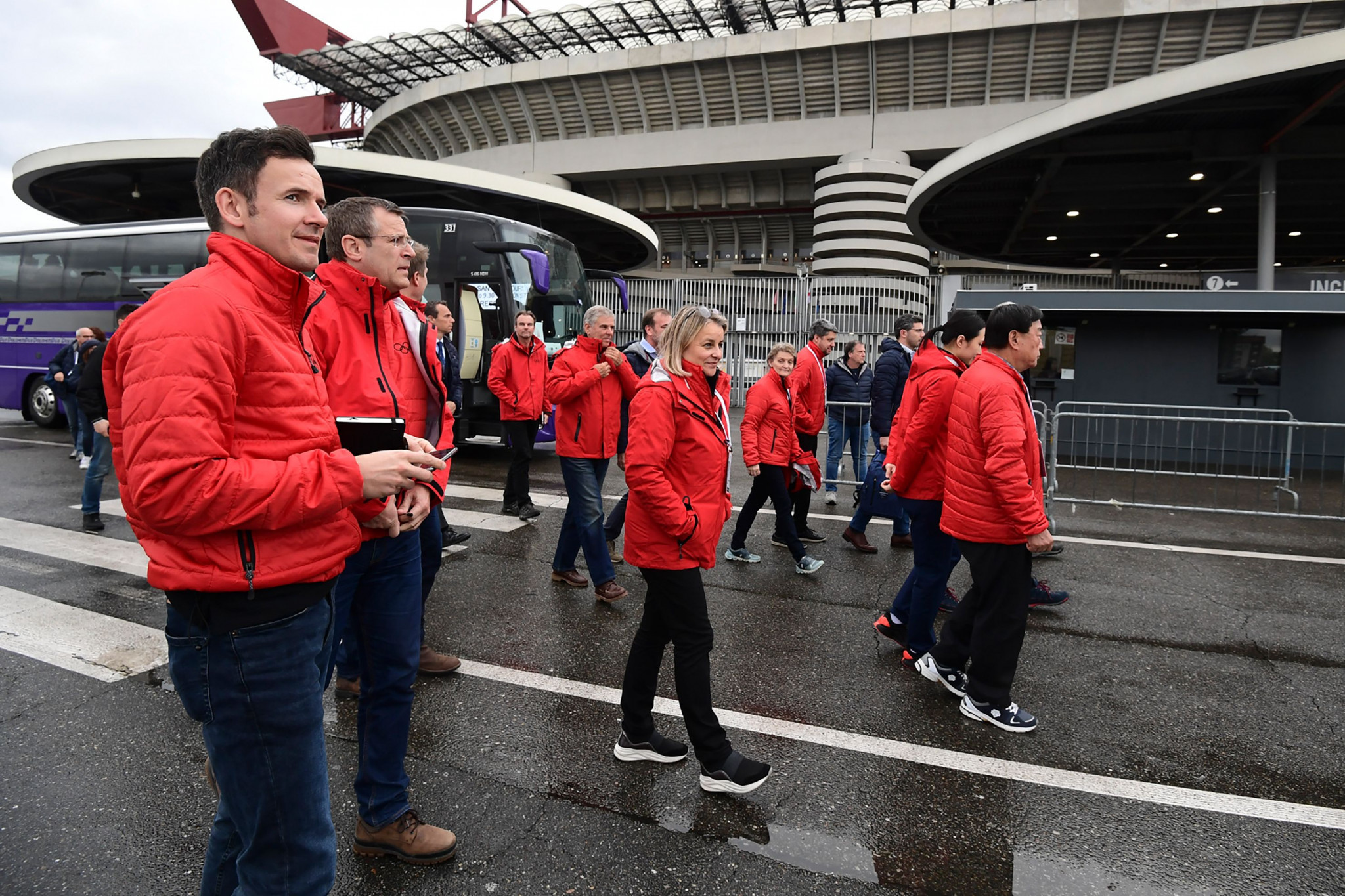Members of the International Olympic Committee's Evaluation Commission visited the famous San Siro stadium shared by the city's two famous football clubs in Milan in April during an inspection visit ©Getty Images