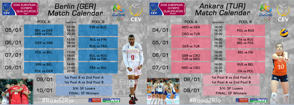 Both European Olympic Qualification tournaments are due to be held in January