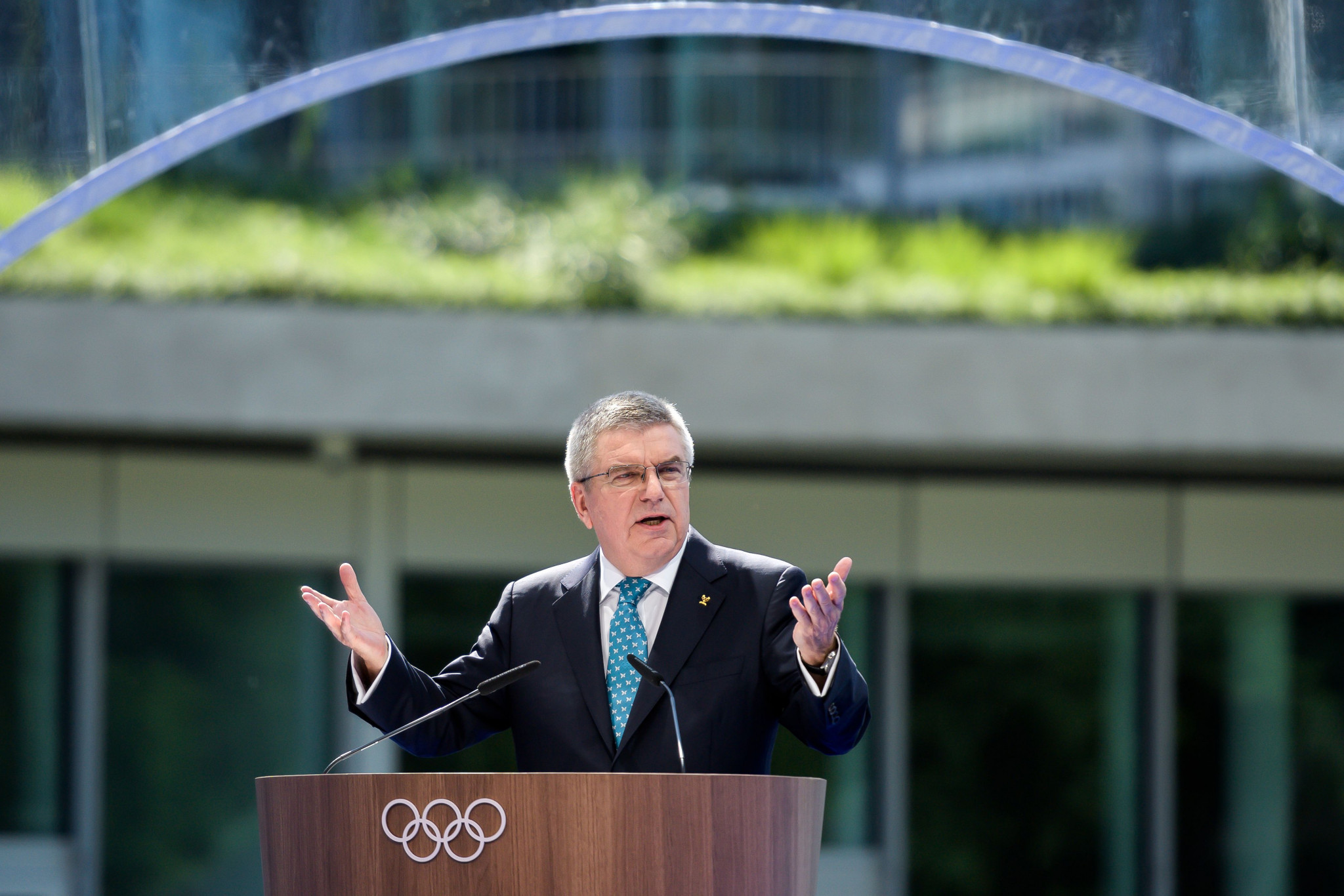 Christiana Figueres expressed her hope the IOC and its President Thomas Bach, seen here at the opening of Olympic House in Lausanne, which he claims is a fully sustainable building, can take more of a leadership role ©Getty Images