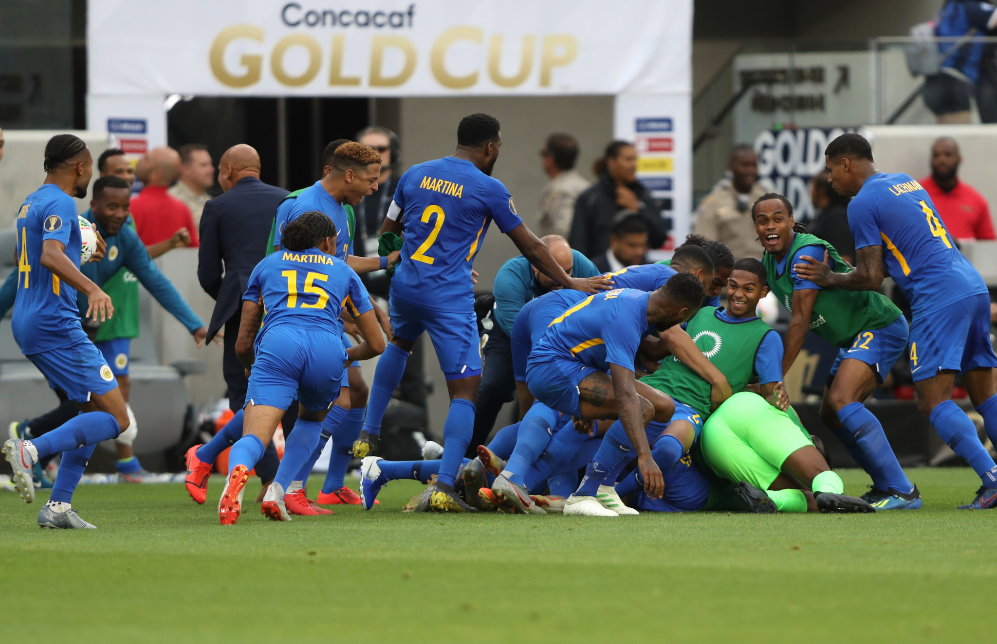 Jurien Gaari scored a dramatic goal in the last seconds of the game to save Curaçao from Gold Cup elimination ©Getty Images