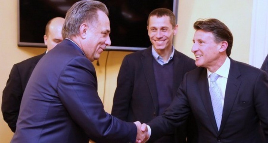 Russian Sports Minister Vitaly Mutko pictured with new IAAF chief Sebastian Coe following a meeting this month ©Minisport.gov.ru