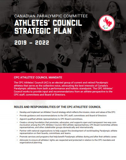 Canadian Paralympic Committee Athletes' Council releases strategic plan for 2019 to 2022