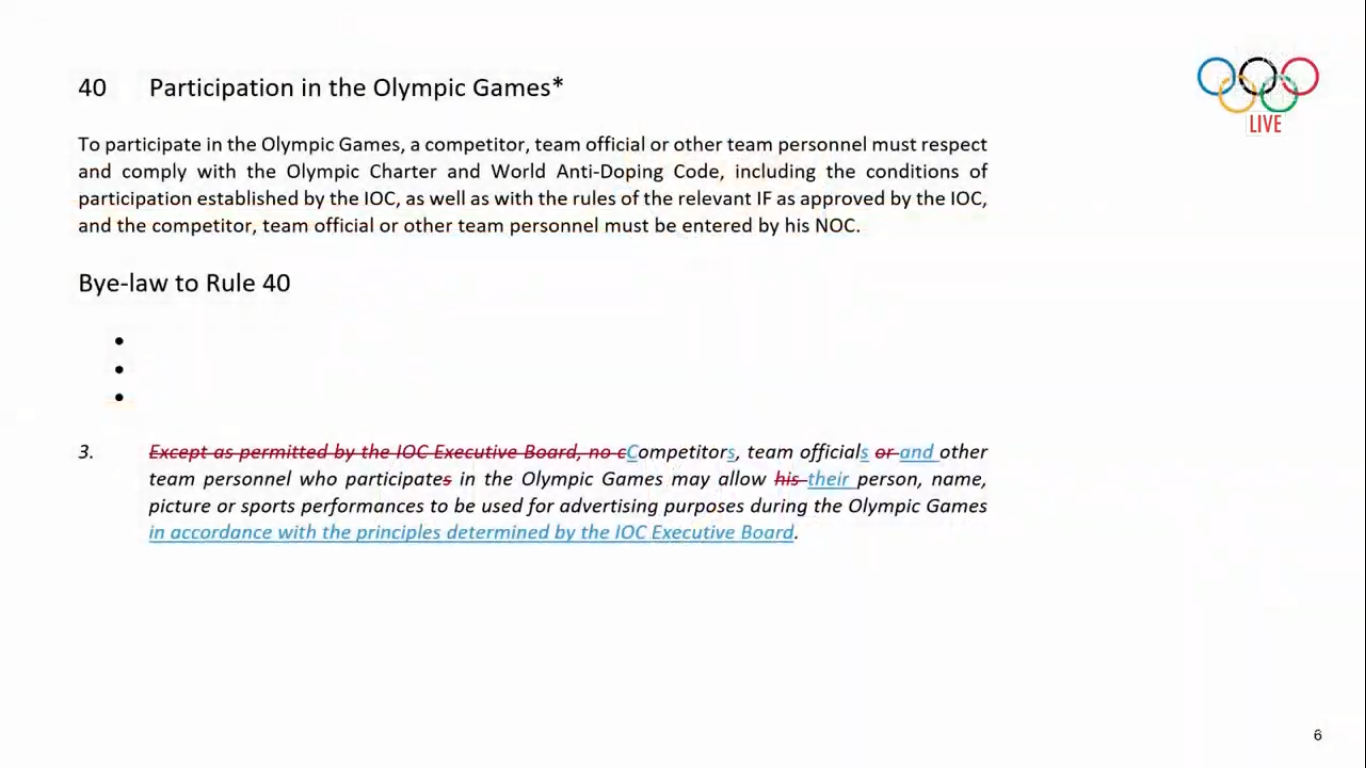 An amendment was made to Rule 40 in the Olympic Charter ©IOC