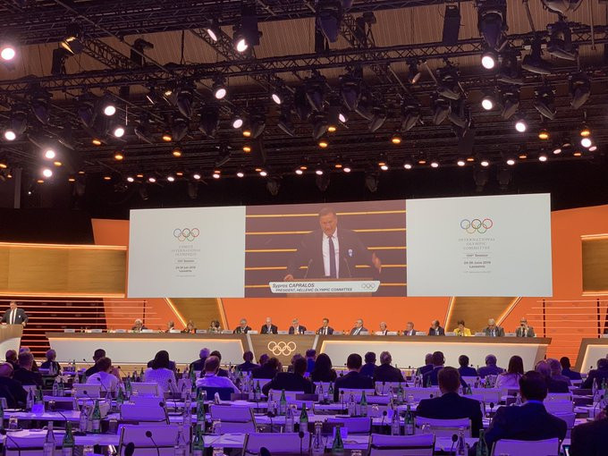 Spyros Capralos presents before Athens was confirmed as the host of the 2021 IOC Session ©IOC