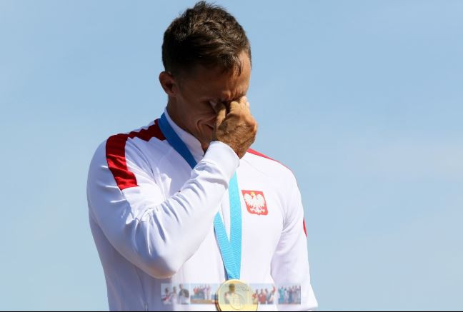 Poland's Tomasz Kaczor earned an emotional victory in the canoe sprint C1 1,000 metres at Minsk 2019, beating Germany's  triple Olympic and 10 times world champion Sebastian Brendl ©Getty Images