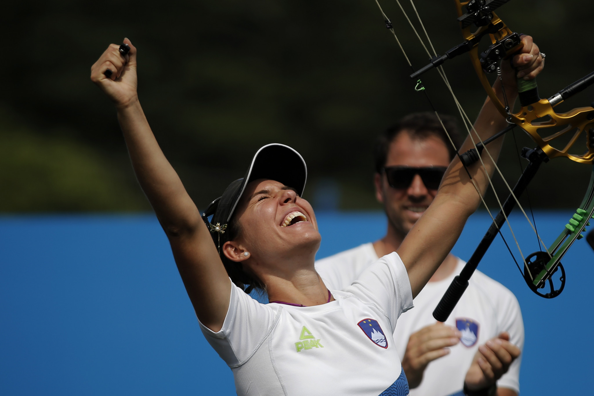 Slovenia's Toja Ellison celebrates European Games victory in Minsk in the women's recurve ©Getty Images